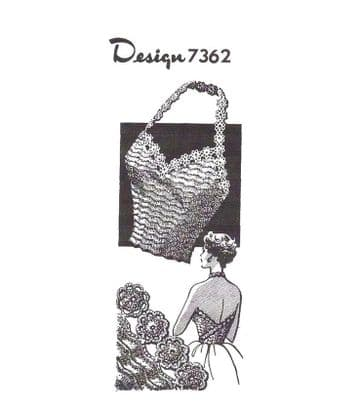 Digital Download PDF Ladies Women's Vintage Crochet Pattern Design 7362 Halter Neck Top 32-38''