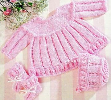 Digital Download PDF Vintage Baby's Knitting Pattern Dress Bonnet & Bootees -Leaf Pattern Detail