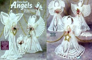 Digital Download PDF Vintage Crochet Pattern Angels 7 Designs ​​​​​​​Christmas Toy Toys Ornament