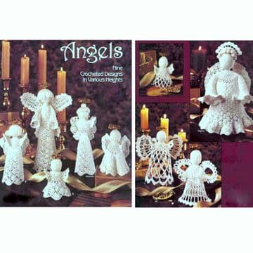 Digital Download PDF Vintage Crochet Pattern Angels Nine Designs Christmas Tree Decorations