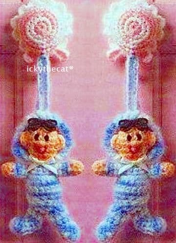 Digital Download PDF Vintage Crochet Pattern ​​​​​​​Baby Babies Doll Doorknob Hanger Cover Toy Toys