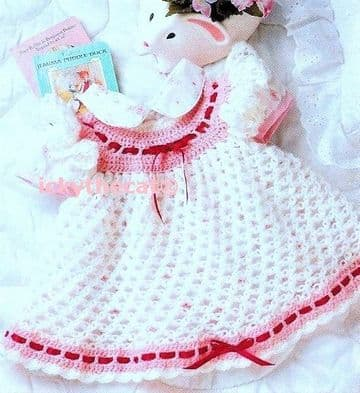 Digital Download PDF Vintage Crochet Pattern ​​Baby Dress 3-12 months
