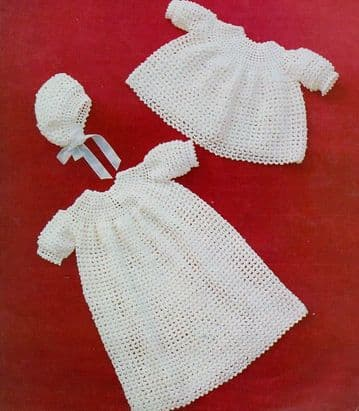 Digital Download PDF Vintage Crochet Pattern ​​​​​​​Baby' Long Christening Robe,Short Dress & Bonnet