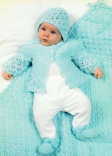 Digital Download PDF Vintage Crochet Pattern Baby's 4 Piece Set Jacket Bootees Blanket