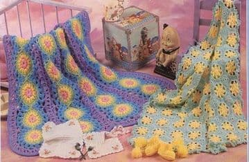 Digital Download PDF Vintage Crochet Pattern ​​​​​​​Baby's Afghan or Blanket Hearts Stars 44 x 39''