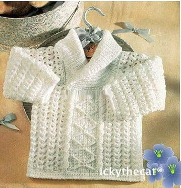 Digital Download PDF Vintage Crochet Pattern ​​​​​​​Baby's Aran Style Shawl Collar Sweater Jumper