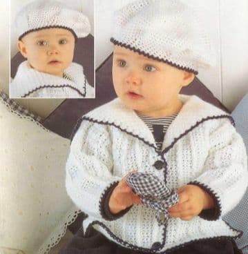 Digital Download PDF Vintage Crochet Pattern ​​​​​​​Baby's Babies Baby Cardigans Beret SAILOR STYLE