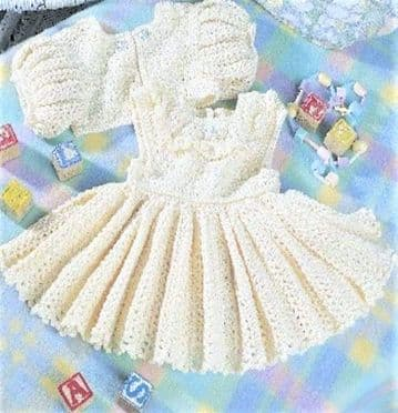 Digital Download PDF Vintage Crochet Pattern ​​​​​​​Baby's Babies Dress & Bolero Jacket 17-19-21''