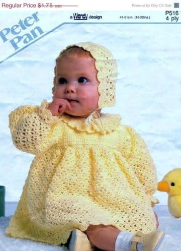 "Digital Download PDF Vintage Crochet Pattern ​​​​​​​Baby's Babies Dress & Bonnet 16""-20"" 4 ply"