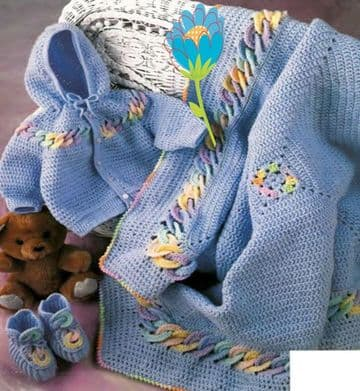 Digital Download PDF Vintage Crochet Pattern ​​​​​​​Baby's Babies Jacket Bootees Blanket 3-6M 9-12M.
