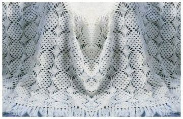 Digital Download PDF Vintage Crochet Pattern ​​​​​​​Baby's Babies Lacy Christening Shawl/Blanket