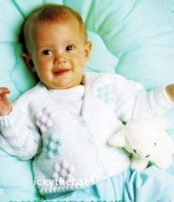 Digital Download PDF Vintage Crochet Pattern Baby's Child Cardigan Jacket Chest 16-20'' 4 ply