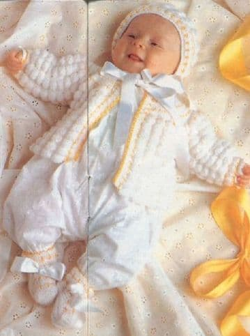 Digital Download PDF Vintage Crochet Pattern Baby's Clothes/Set Jacket Bonnet & Bootees 0-3 month
