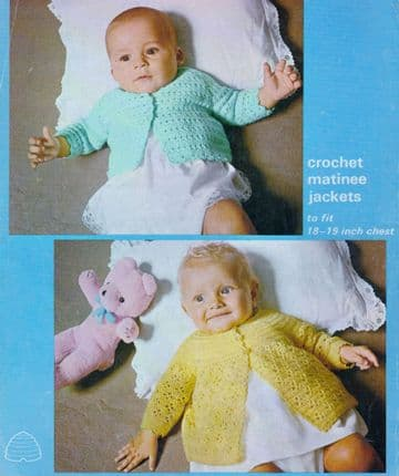 Digital Download PDF Vintage Crochet Pattern Baby's Coats Jackets 18-19'' 3 & 4 ply