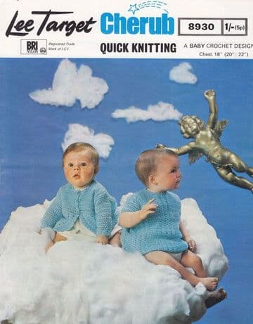 Digital Download PDF Vintage Crochet Pattern Baby's Dress & Jacket 18,20,22 in Quickerknit