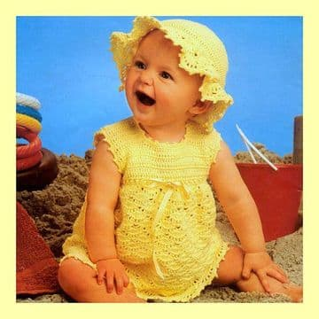 Digital Download PDF Vintage Crochet Pattern Baby's Frilly Brim Sun Hat & Sleeveless Yoke Dress