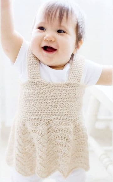 Digital Download PDF Vintage Crochet Pattern Baby's Girl's Pinafore Dress ​​​​​​​17""