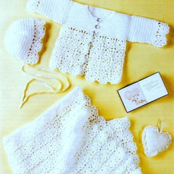 Digital Download PDF Vintage Crochet Pattern Baby's Granny Square Shawl Coat Bonnet 12-20'' DK