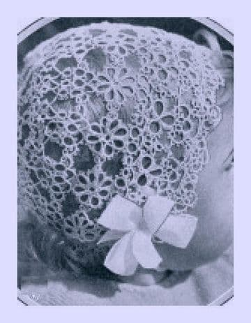 Digital Download PDF Vintage Crochet Pattern Baby's Lace Christening Bonnet Average Size