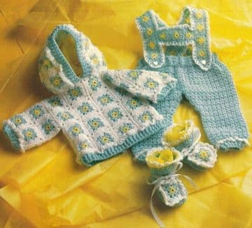 Digital Download PDF Vintage Crochet Pattern Baby's Layette 0-12 months DK