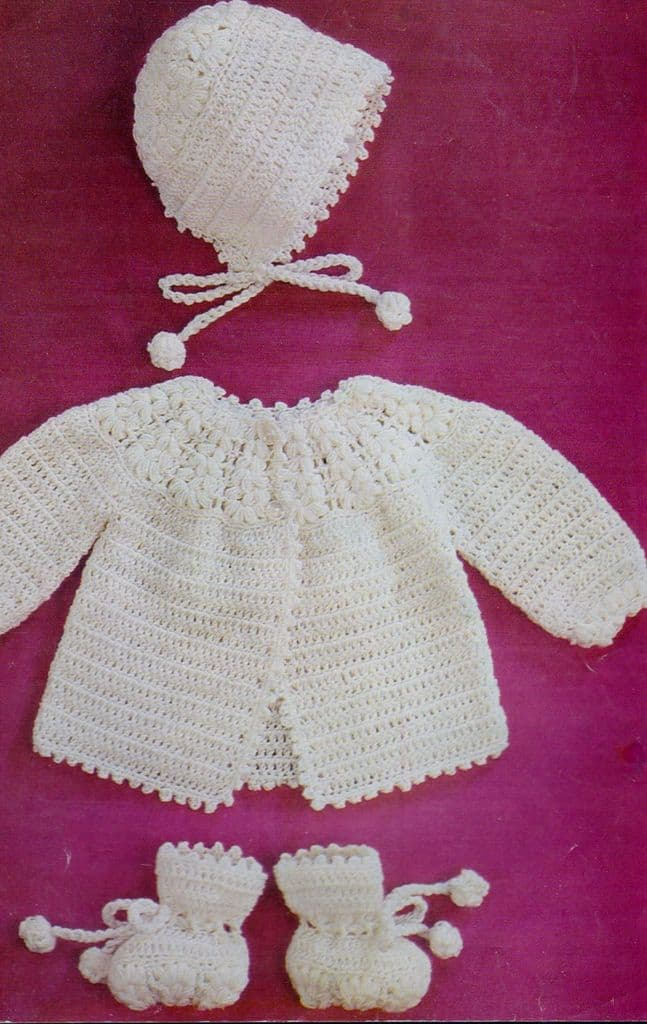 Digital Download PDF Vintage Crochet Pattern Baby's Matinee Coat/Jacket Bonnet & Bootee 4 ply 20''