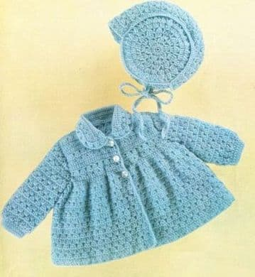 Digital Download PDF Vintage Crochet Pattern Baby's Matinee Coat/Jacket & Hat 18 - 20'' 4 ply