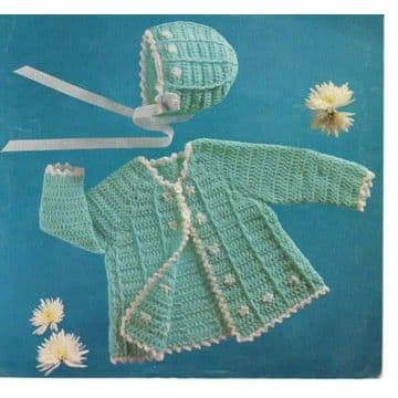 Digital Download PDF Vintage Crochet Pattern Baby's Matinee Jacket/Coat with Bonnet18-20''