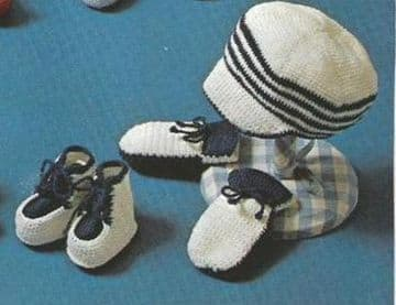 Digital Download PDF Vintage Crochet Pattern ​​​​​​​Baby's Nautical Peaked Hat/Cap Mittens Bootees