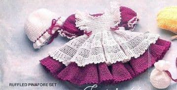 Digital Download PDF Vintage Crochet Pattern Baby's ​​​Ruffled Pinafore & Dress, Hat & Purse