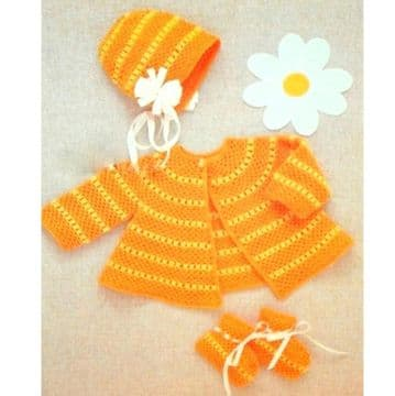 Digital Download PDF Vintage Crochet Pattern Baby's Set cardigan/jacket, bonnet booties 3-6 mths