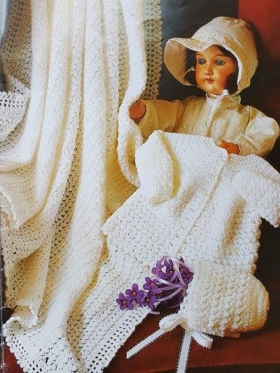 Digital Download PDF Vintage Crochet Pattern Baby's Square Lacy Baby Shawl Christening 4 ply