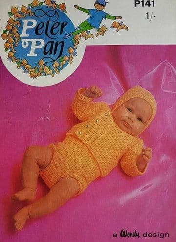 Digital Download PDF Vintage Crochet Pattern Baby's Sweater Romper & Cap 18-20'' DK