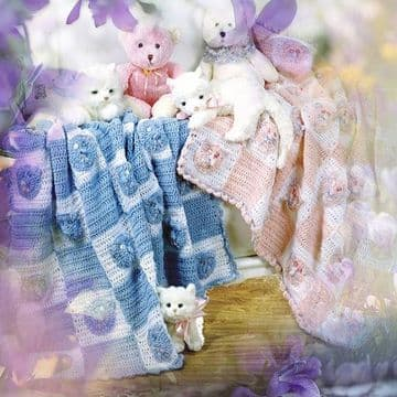 Digital Download PDF Vintage Crochet Pattern Baby's Teddy Bear/Kitten/Cat Face Blanket Afghan