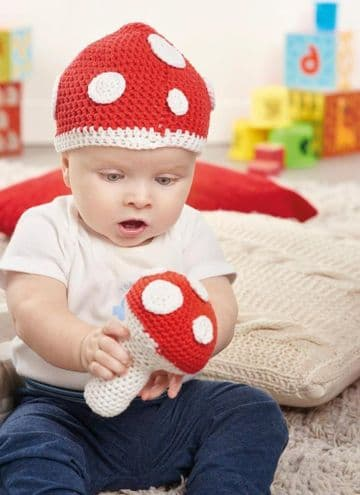 Digital Download PDF Vintage Crochet Pattern Baby's Toadstool Hat & Rattle
