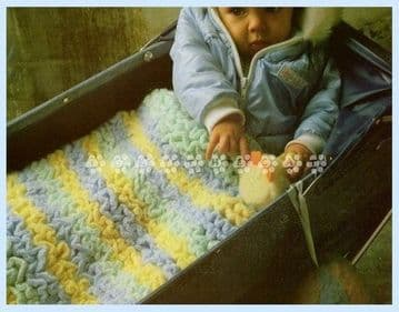Digital Download PDF Vintage Crochet Pattern ​​​​​​​Baby's Toddler Thick Ruffle Blanket for Cot/Pram