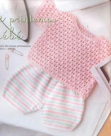 Digital Download PDF Vintage Crochet Pattern Baby's Wraparound Jacket/Top & Stripe Short Trousers