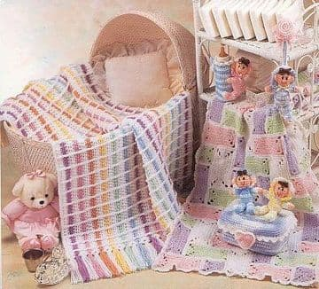 Digital Download PDF Vintage Crochet Pattern ​​​​​​​BabyAfghan/Blanket 40 x 34''