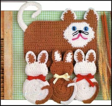 Digital Download PDF Vintage Crochet Pattern Cat & Kittens Pot Holders & Hot Pad
