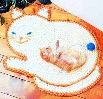Digital Download PDF Vintage Crochet Pattern Cat Rug Mat Pet Bed Cat/Dog