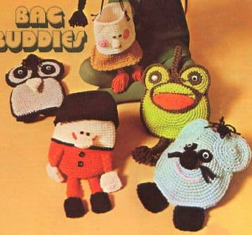 Digital Download PDF Vintage Crochet Pattern Child Kids Bag Buddies Amigurumi Play Purses 5 designs