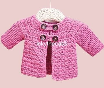 Digital Download PDF Vintage Crochet Pattern Child's Aran Baby Jacket Cardigan Coat 0-24 months Aran