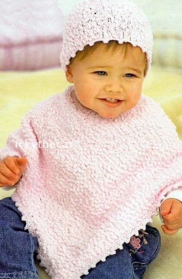 Digital Download PDF Vintage Crochet Pattern Child's Baby's Childrens Poncho & Hat 16-26'' DK