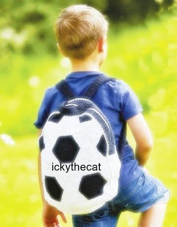 Digital Download PDF Vintage Crochet Pattern Child's Boy Girl Football Backpack Bag