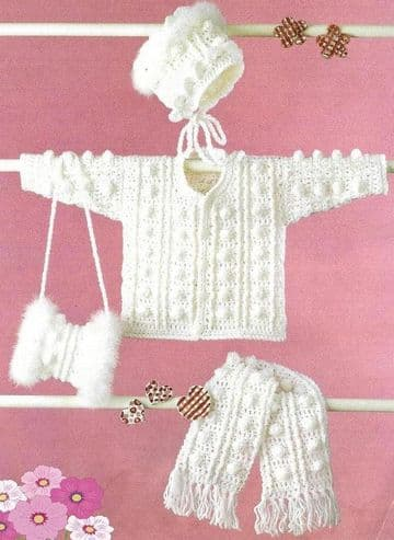 Digital Download PDF Vintage Crochet Pattern Child's Girl's Fancy Trim Aran Jacket Bonnet Scarf Muff