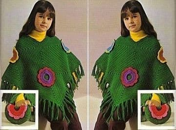 Digital Download PDF Vintage Crochet Pattern Child's Girl's Flower Motif Fringed Poncho & Bag