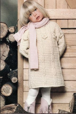"Digital Download PDF Vintage Crochet Pattern Child'sGirls Aran Style Sweater Dress 3 Sizes 26""-30"""