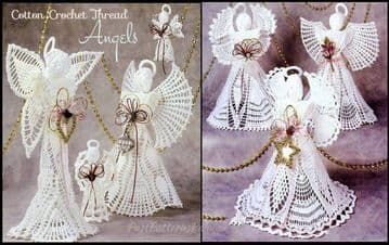 Digital Download PDF Vintage Crochet Pattern Christmas Angel Doll Ornaments Centerpiece Toys Dolls