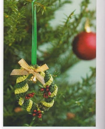 Digital Download PDF Vintage Crochet Pattern Christmas Tree Hanging Wreath 3'' in Diameter 3''