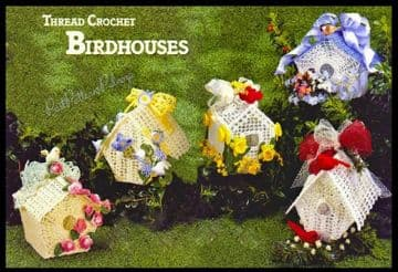 Digital Download PDF Vintage Crochet Pattern Cotton Thread Lace Birdhouses