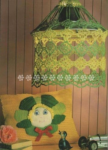 Digital Download PDF Vintage Crochet Pattern Flower Face Cushion/Pillow & Hanging Lampshade
